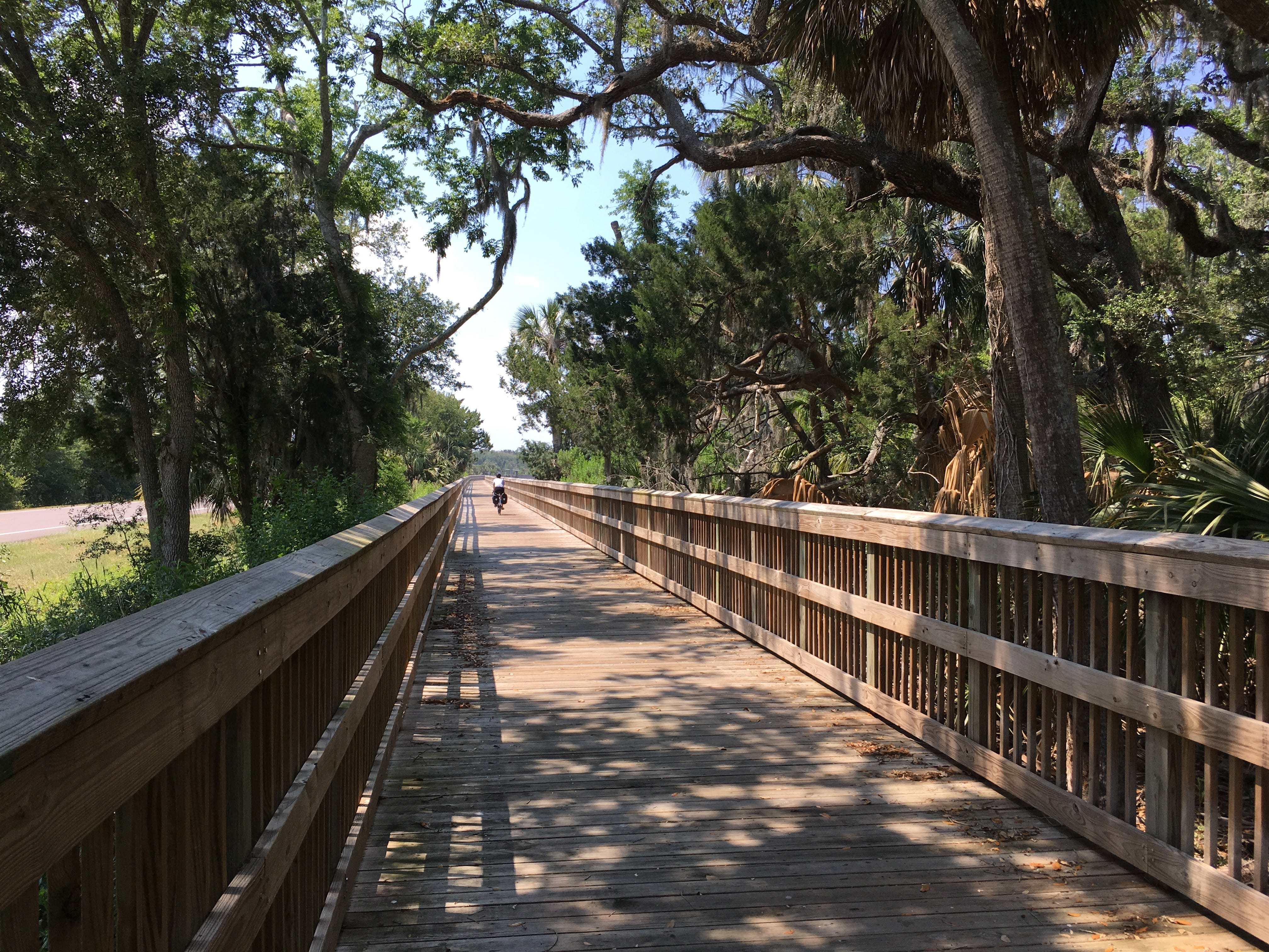 The Timucuan Trail in Florida runs through Big Talbot and Little Talbot state parks and offers beautiful views of the coast with side trails to beaches.
