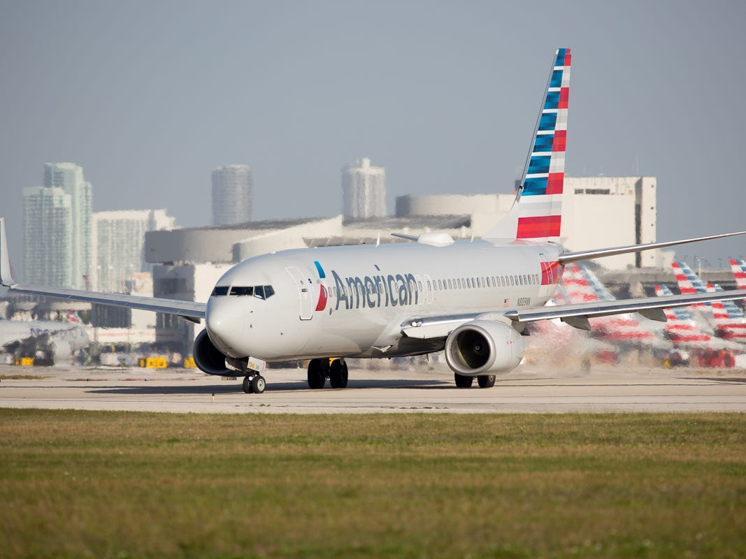 An American Airlines Boeing 737-800 taxis to runway 8R at Miami International Airport on Fe. 23, 2019.