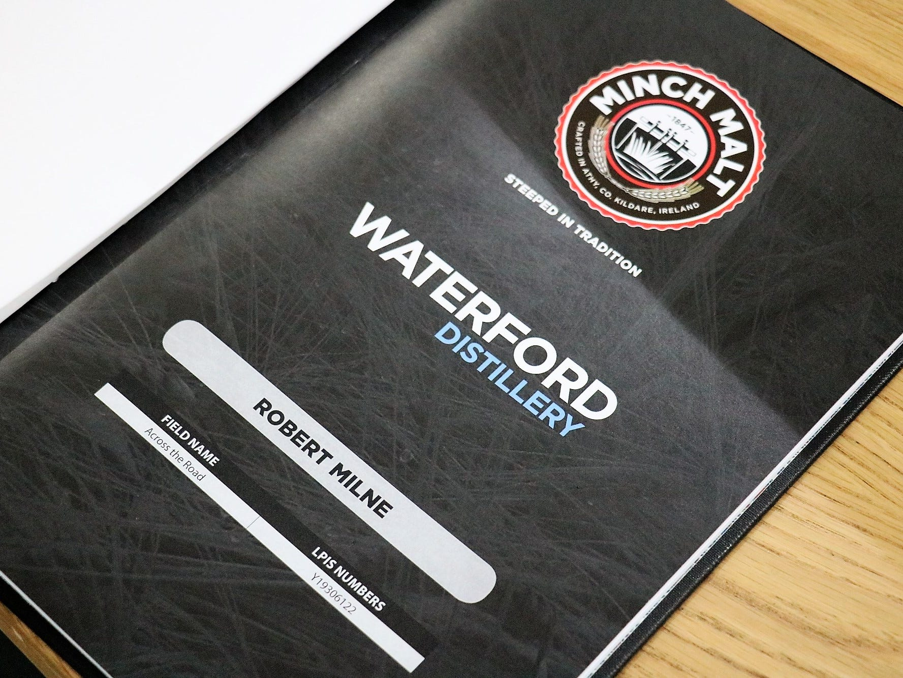 "Waterford produces a ""passport"" for each farm and production batch, in conjunction with maltster Minch Malt. It offers an enormous amount of data, including soil type and location of a given field, date of planting, how much fertilizer was used and when, barley variety, quality of the grain in terms of protein and moisture levels, where and when the grain was stored in the warehouse, and much more. Similar amounts of data are kept for each aspect of fermentation, distillation and maturation."