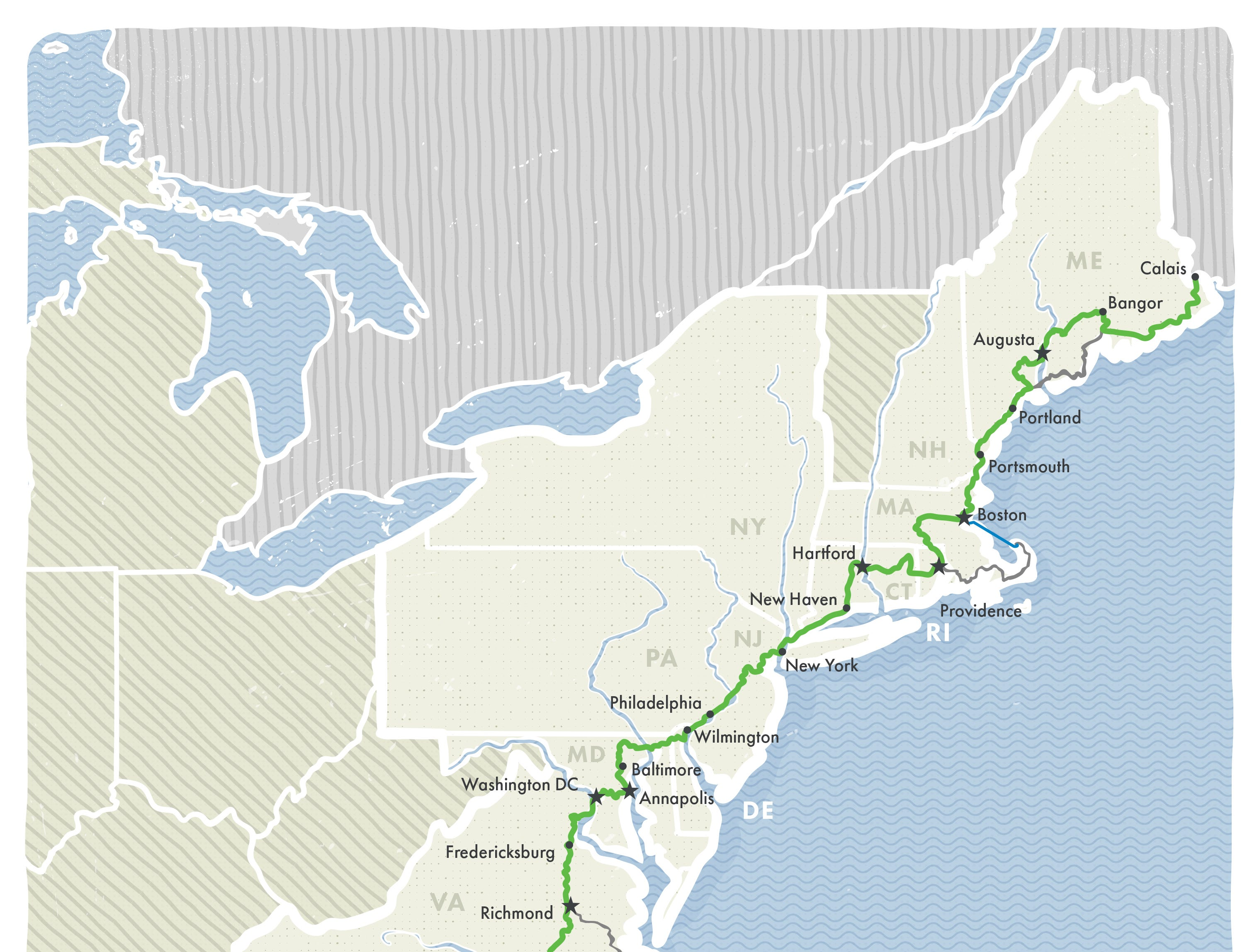 The 3,000-mile East Coast Greenway connects biking and walking paths and will eventually create a park from Maine to Florida.