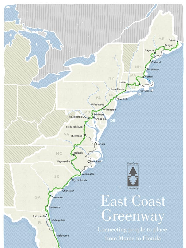 Map Florida East Coast.East Coast Greenway Hike Or Bike Your Way From Maine To Florida
