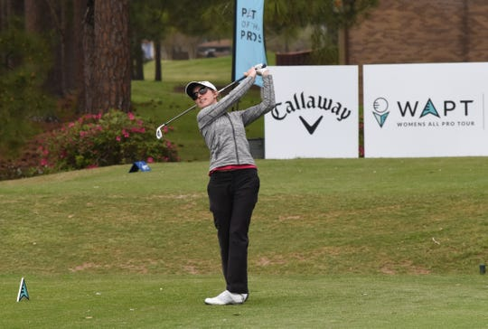 Spencer Warne tees off during the Women's Pro Tour held Friday, March 15, 2019 at Oakwing Golf Club is hosting the All-Pro Tour and Women's Pro Tour. About 60 men and twenty women competed Friday. The championship matches will be held Saturday, March 16, 2019.