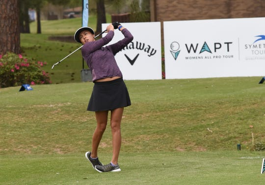 Gabby Lemieux tees off during the Women's Pro Tour held Friday, March 15, 2019 at Oakwing Golf Club is hosting the All-Pro Tour and Women's Pro Tour. About 60 men and twenty women competed Friday. The championship matches will be held Saturday, March 16, 2019.
