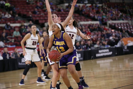 LSUA's E'Layzha Bates (13) goes up for two in Friday's game vs. Lewis-Clark State.