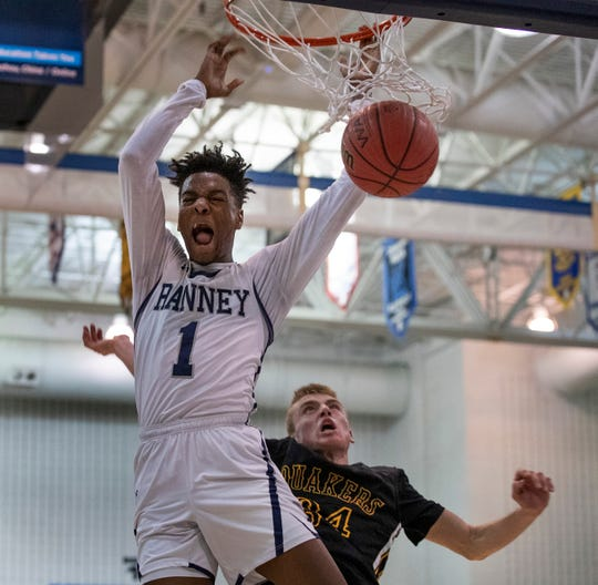 Ranney's Bryan Antoine dunks in the first half. Ranney Boys Basketball vs Moorestown in a 2019 NJSIAA Tournament of Champions semifinals in Toms River on March 15, 2019.