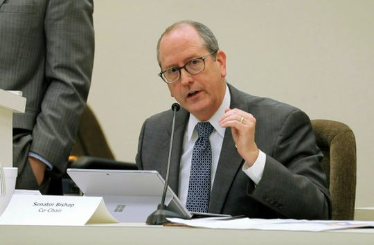 In this Jan. 22, 2018 file photo, N.C. Sen. Dan Bishop speaks during a joint N.C. House-Senate committee meeting on judicial reform and redistricting held at the Legislative Office Building in downtown Raleigh. Bishop filed on March 14, 2019, to run in the 9th Congressional District re-do election. He faces at least two others in May's Republican primary.