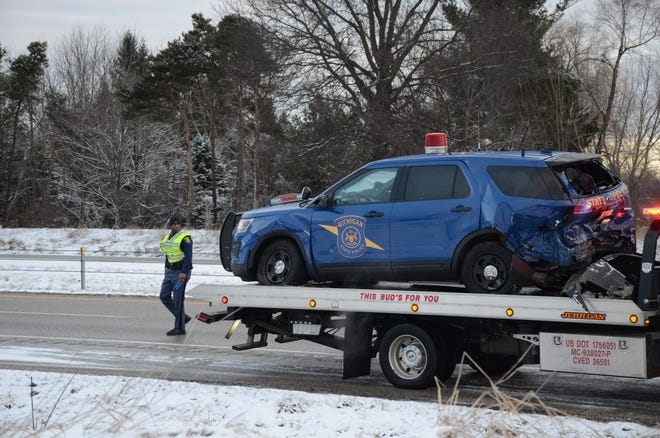 A Michigan State Police Trooper was injured early Saturday on I-94 in Battle Creek when his car was struck by another vehicle.