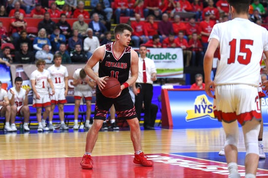 Glens Falls vs. Lowville, NYSPHSAA Boys Basketball State Tournament Class B Championship, Floyd L. Maines Veterans Memorial Arena, Binghamton. March 16, 2019.