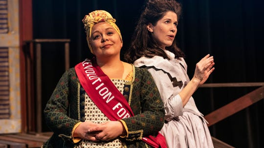 "Kerrie Thornton (left) and Meg Wolf in ""The Revolutionists,"" which concludes its run at Bainbridge Performing Arts with evening shows March 22 and 23 and a March 24 matinee."