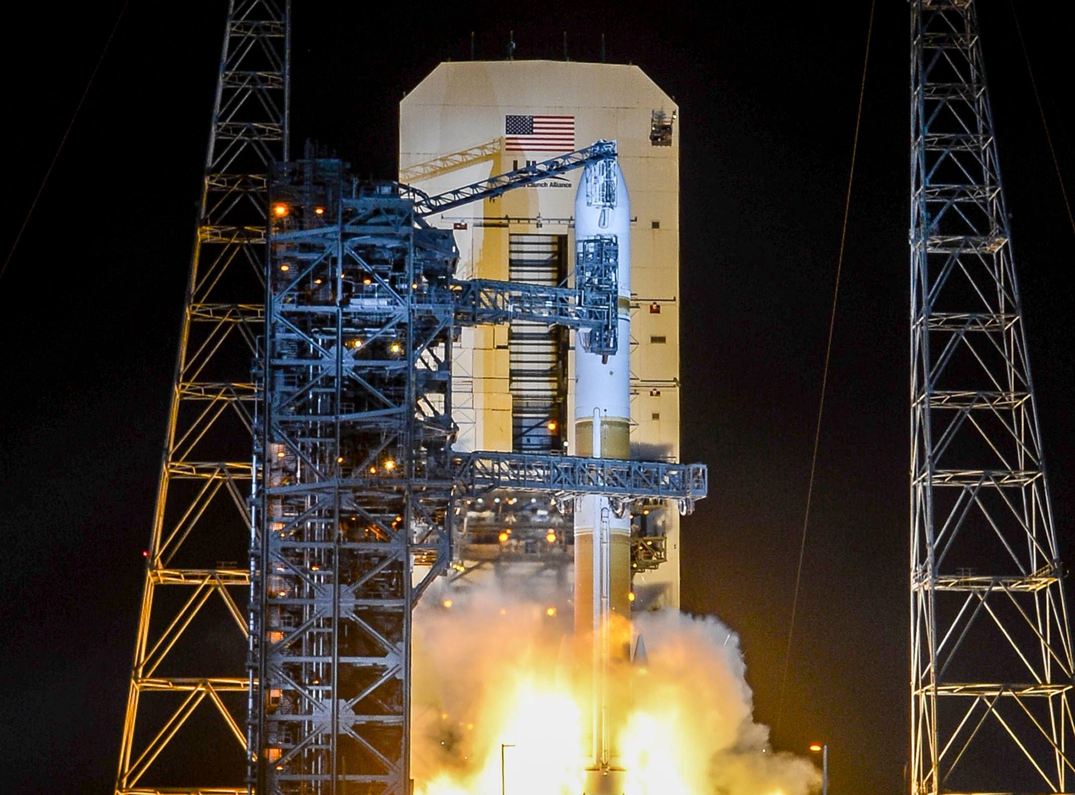 A United Launch Alliance Delta IV Medium rocket lifts off from Cape Canaveral Air Force Station Friday, March 15, 2019. The rocket is carrying a communications satellite for the US Military.