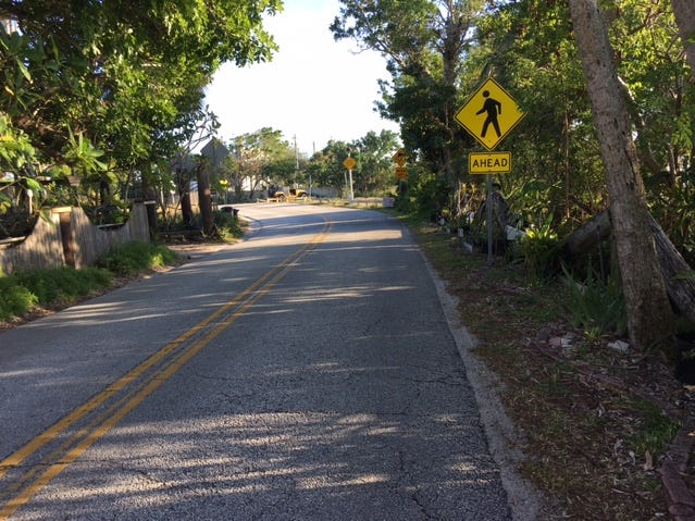 Scenic view on Tropical Trail on Merritt Island. Bicyclists, joggers and vehicles share the roadway.