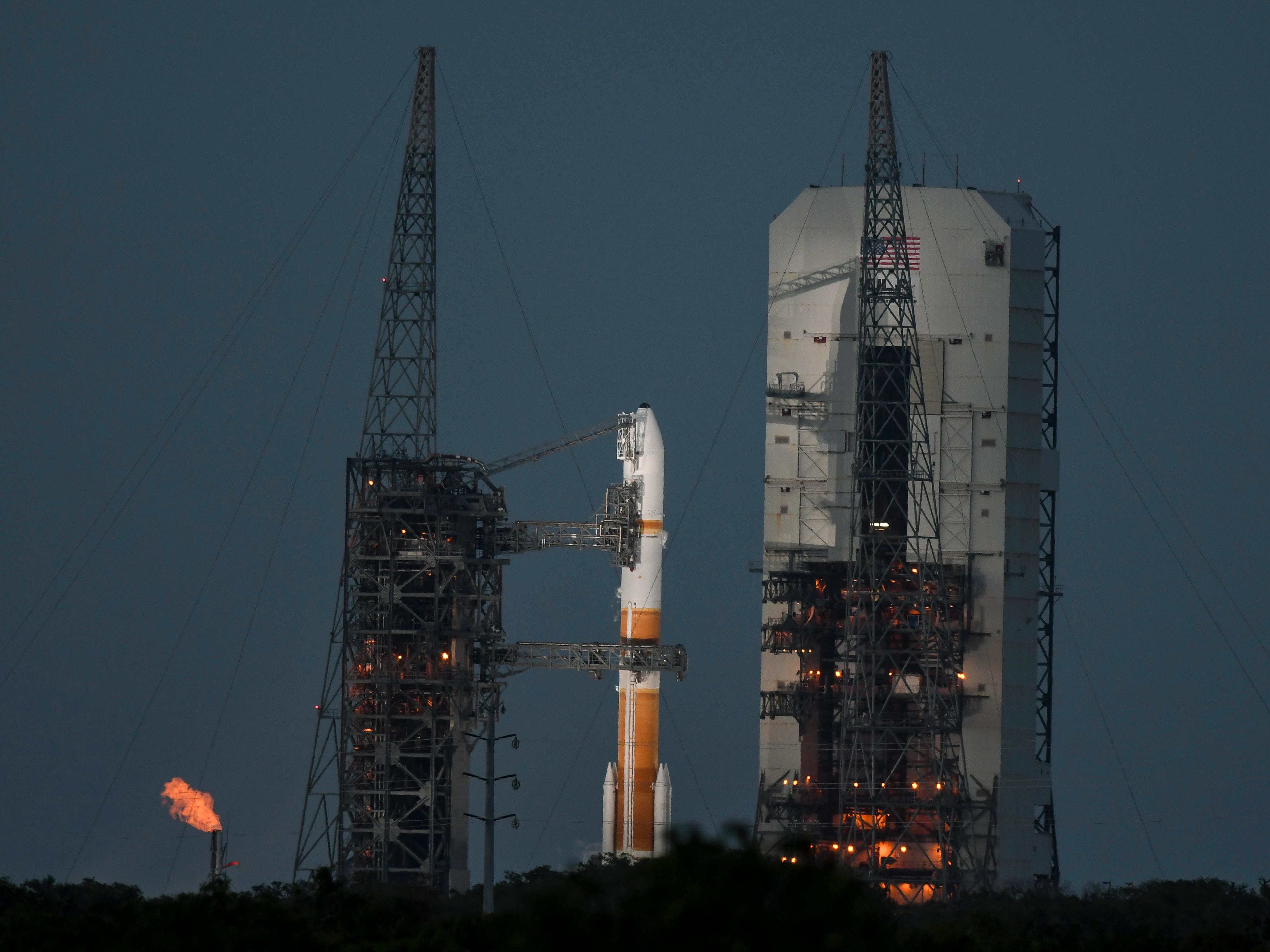 A Delta IV rocket launches from Cape Canaveral Air Force Station with the WGS-10 spacecraft on Friday, March 15, 2019.