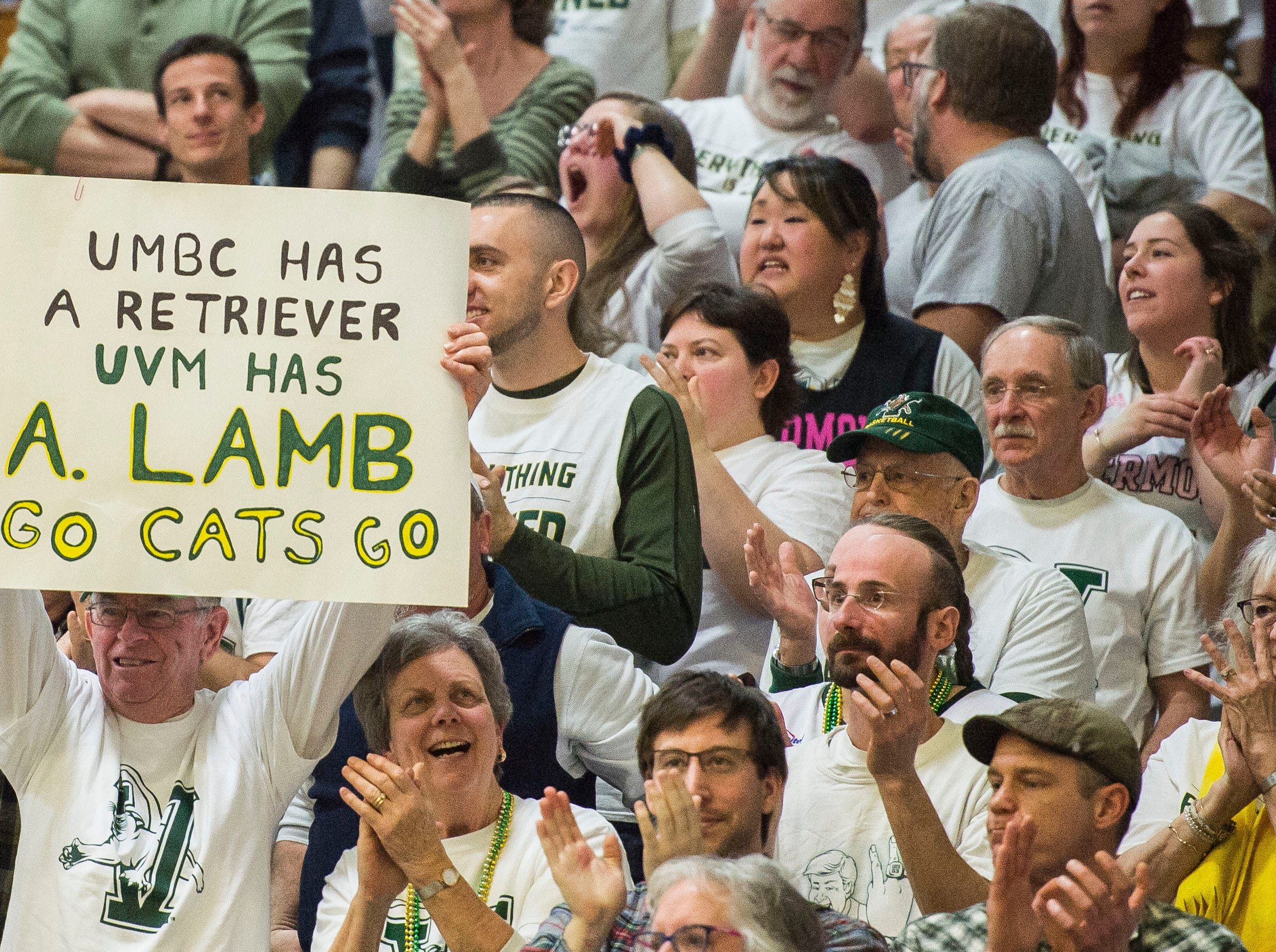 Fans support UVM Men's basketball #3 Anthony Lamb during the America East Championship in Burlington, Vt., on Saturday, March 16, 2019. UVM won, 66-49 and will head to the NCAA March Madness Tournament.