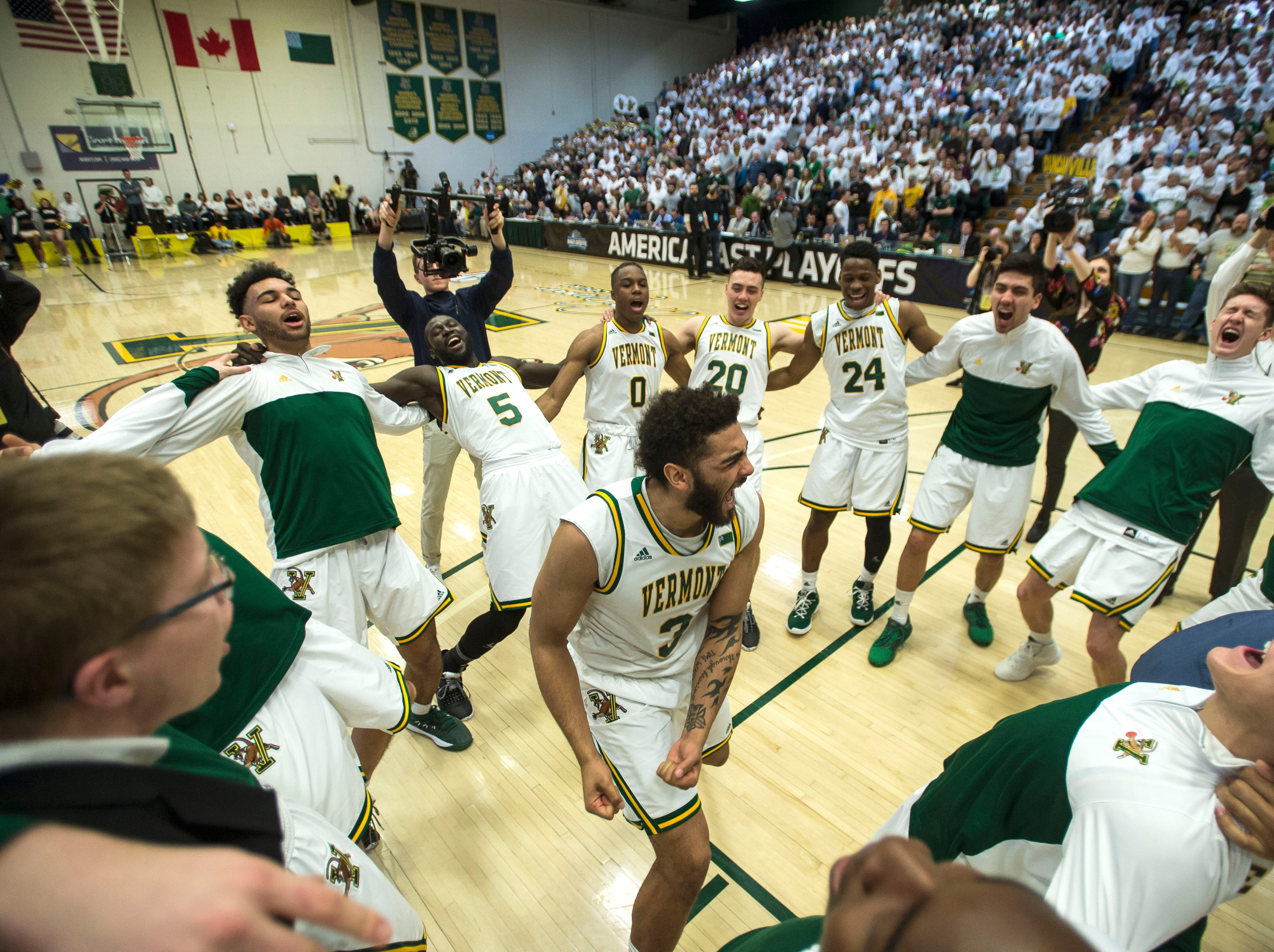 UVM Men's basketball #3 Anthony Lamb rallies with teammates before the start of the America East Championship in Burlington, Vt., on Saturday, March 16, 2019. UVM won, 66-49 and will head to the NCAA March Madness Tournament.