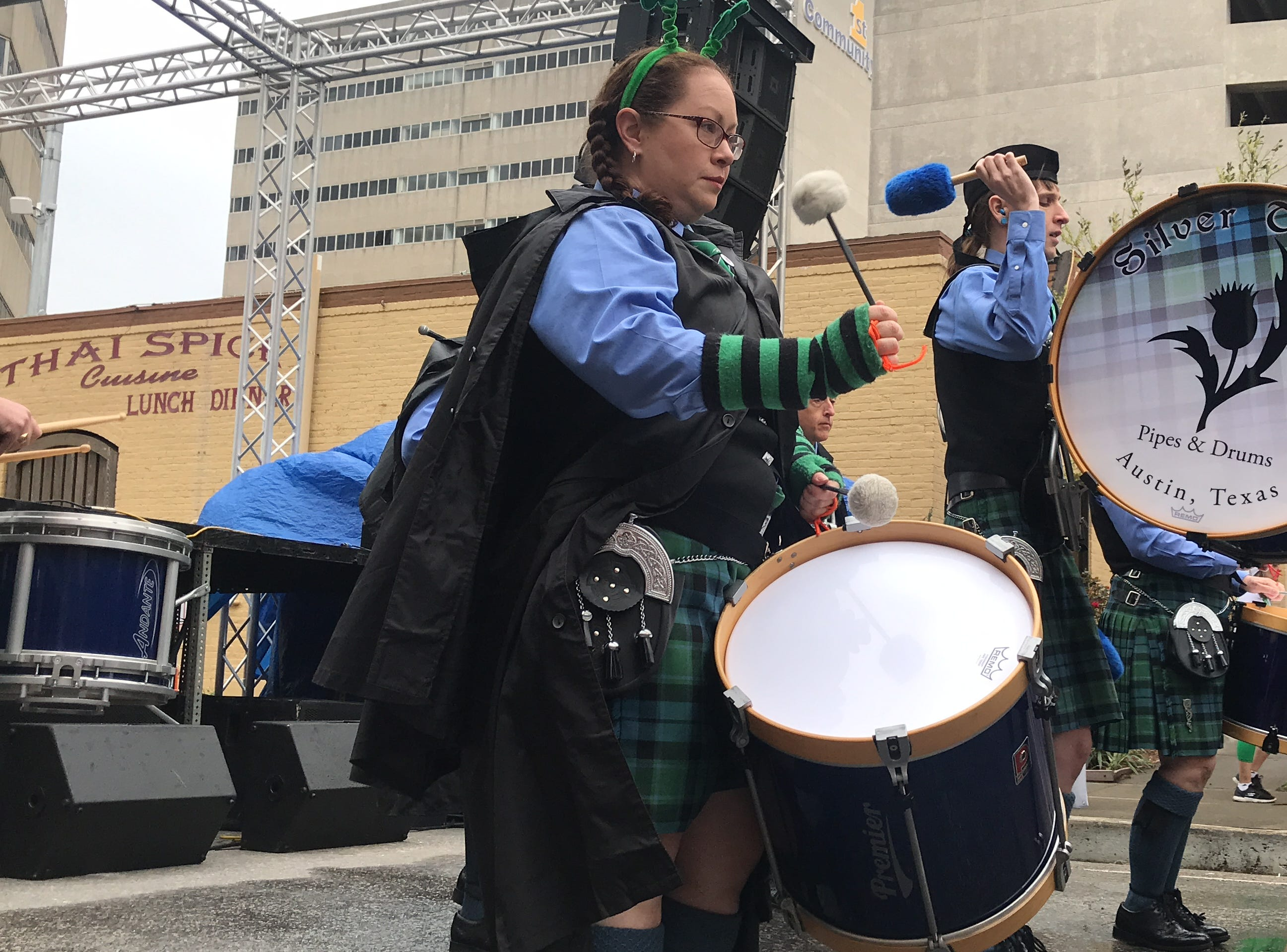Silver Thistle Pipes and Drums perform traditional Celtic tunes at the 8th annual St. Paddy's Festival in downtown Corpus Christi Saturday, March 16, 2019.