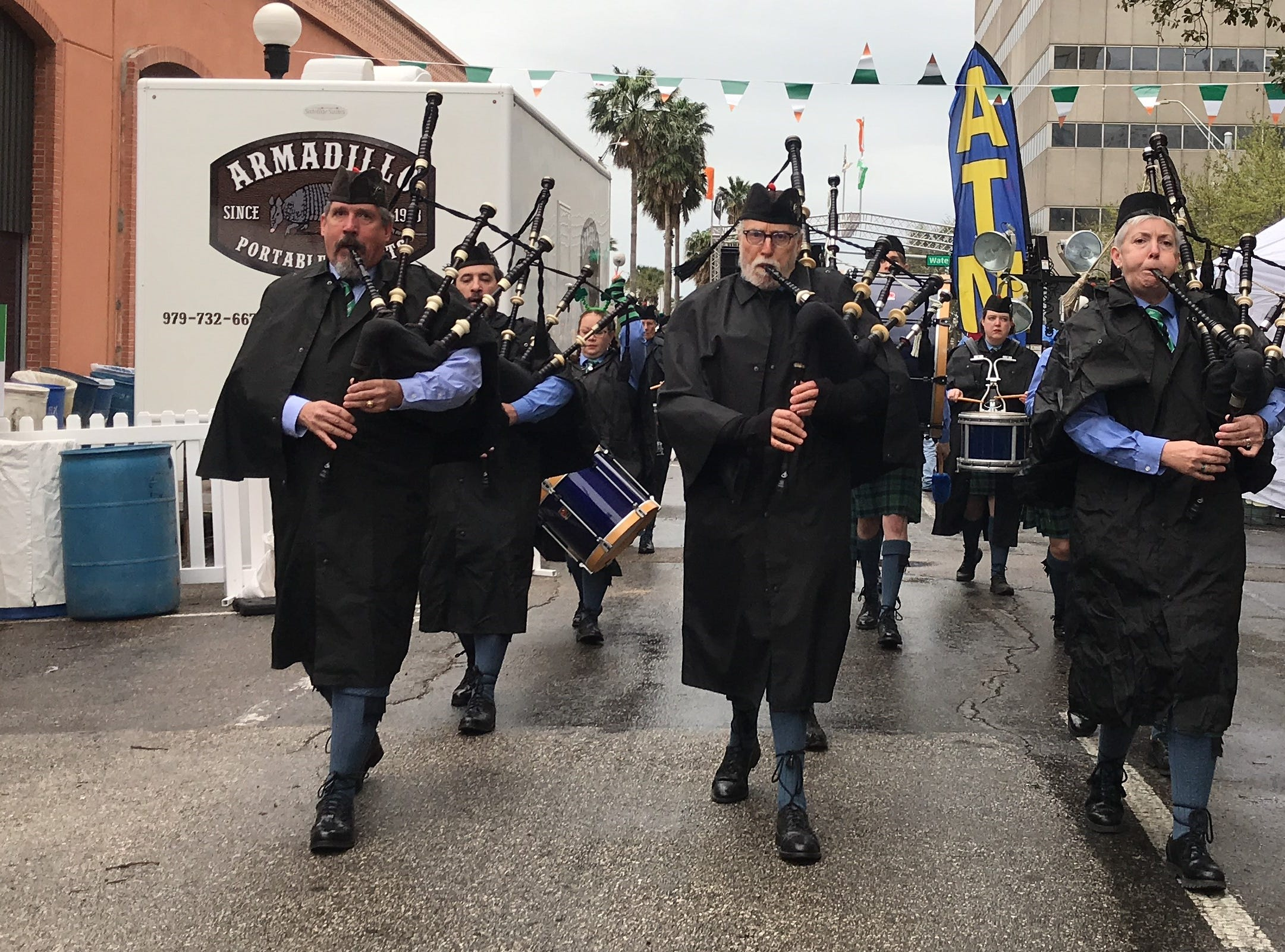 The Silver Thistles Pipes and Drums play traditional Celtic tunes in the streets of downtown Corpus Christi at the 8th annual St. Paddy's Festival Saturday, March 19, 2019.