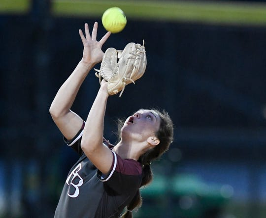 Flour Bluff's Cydney Deleon catches the ball at the game against Tuloso Midway, Friday, March 15, 2019. Tuloso Midway won, 5-1.