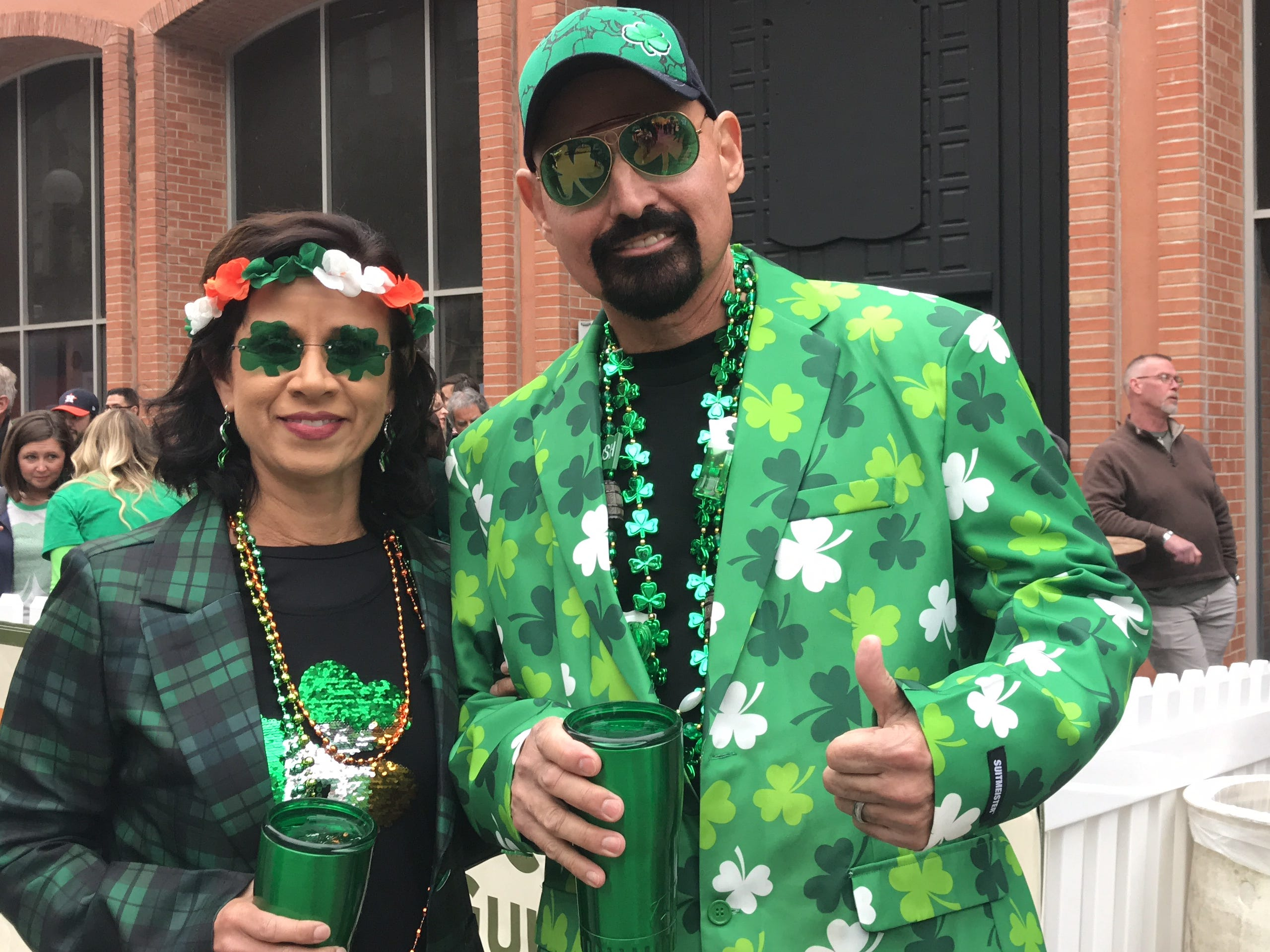 People dressed up in green clothes to celebrate St. Patrick's Day weekend at the 8th annual St. Paddy's Festival in Corpus Christi.