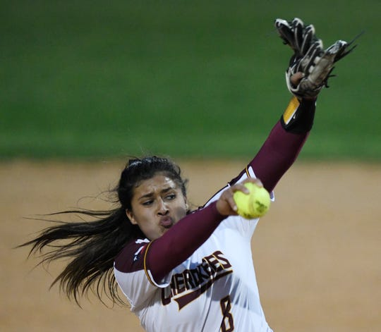 Tuloso Midway's Breanna Reyna pitches the ball at a game against Flour Bluff, Friday, March 15, 2019.