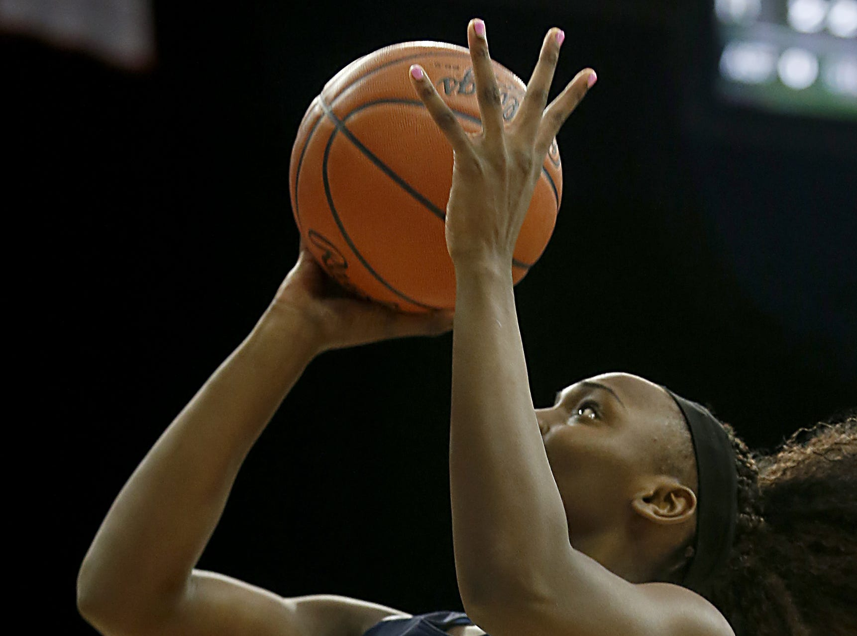 Mount Notre Dame guard K.K. Bransford puts in two against GlenOak during their Division I semifinal game in the 44th Annual State Girls Basketball Tournament at the Schottenstein Center in Columbus Friday, March 15, 2019.