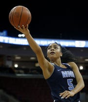 Mount Notre Dame guard Laila Phelia drops in two against GlenOak during their Division I semifinal game in the 44th Annual State Girls Basketball Tournament at the Schottenstein Center in Columbus Friday, March 15, 2019.