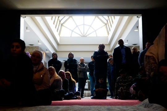 Listeners packed the entrance of the mosque at the Islamic Center of Greater Cincinnati, March 19, 2019.