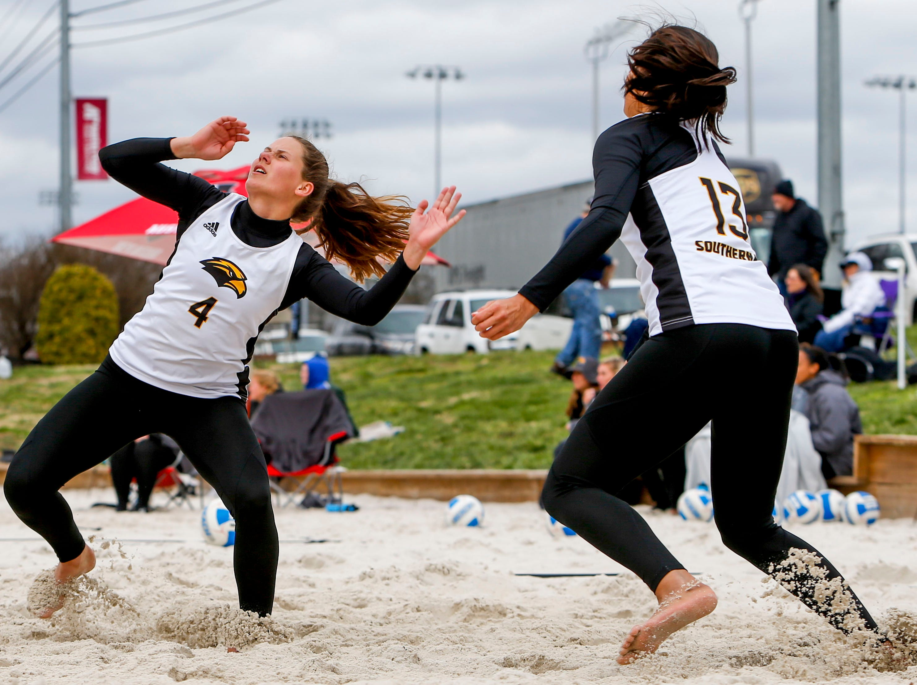 Southern Miss players move to return a serve at Winfield Dunn Center lawn in Clarksville, Tenn., on Friday, March 15, 2019.