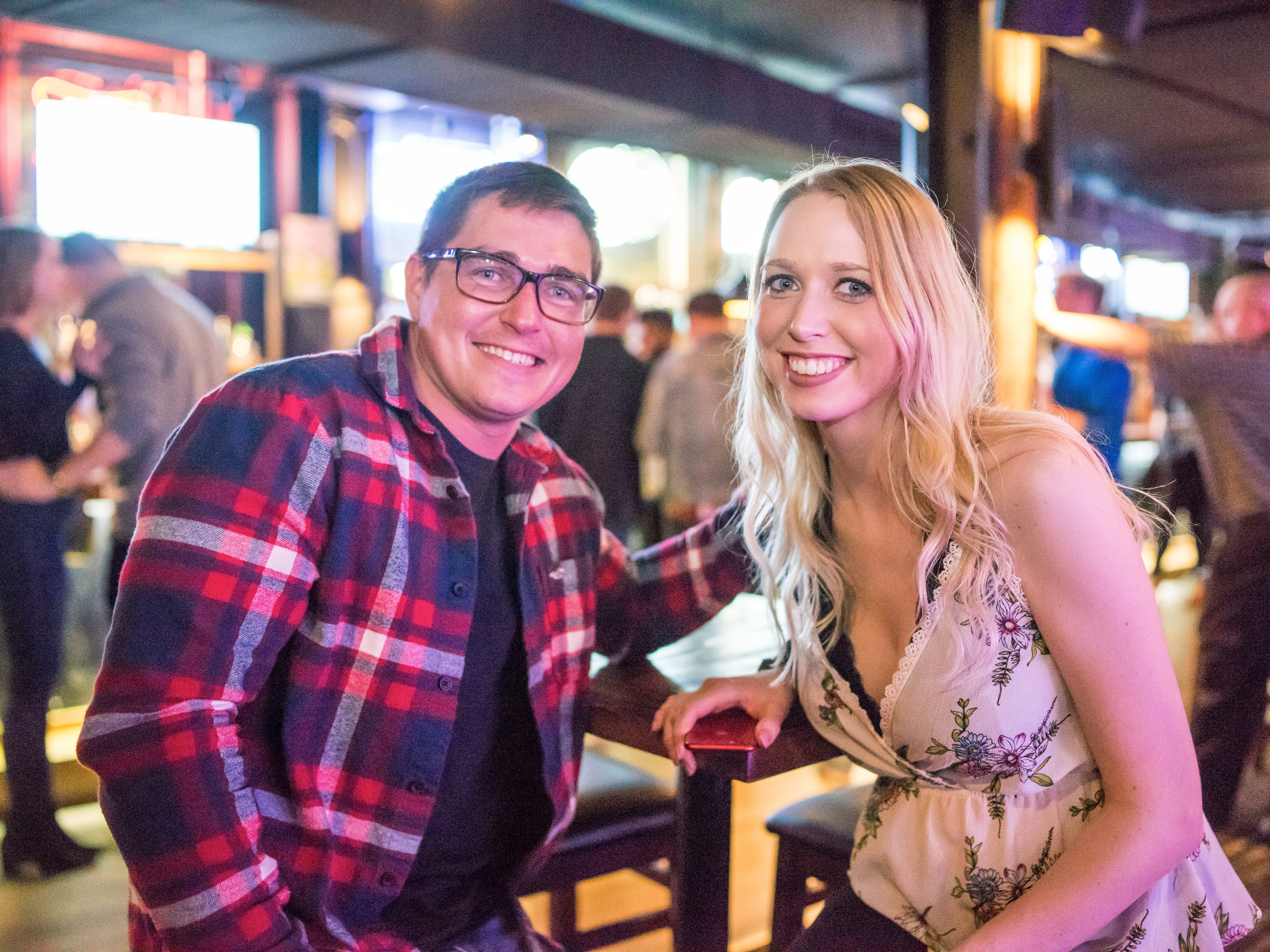 James Dean, 25, and Jenny Eschen, 25, both of Des Moines, enjoying their night out, Friday, March 15th, at Shags.