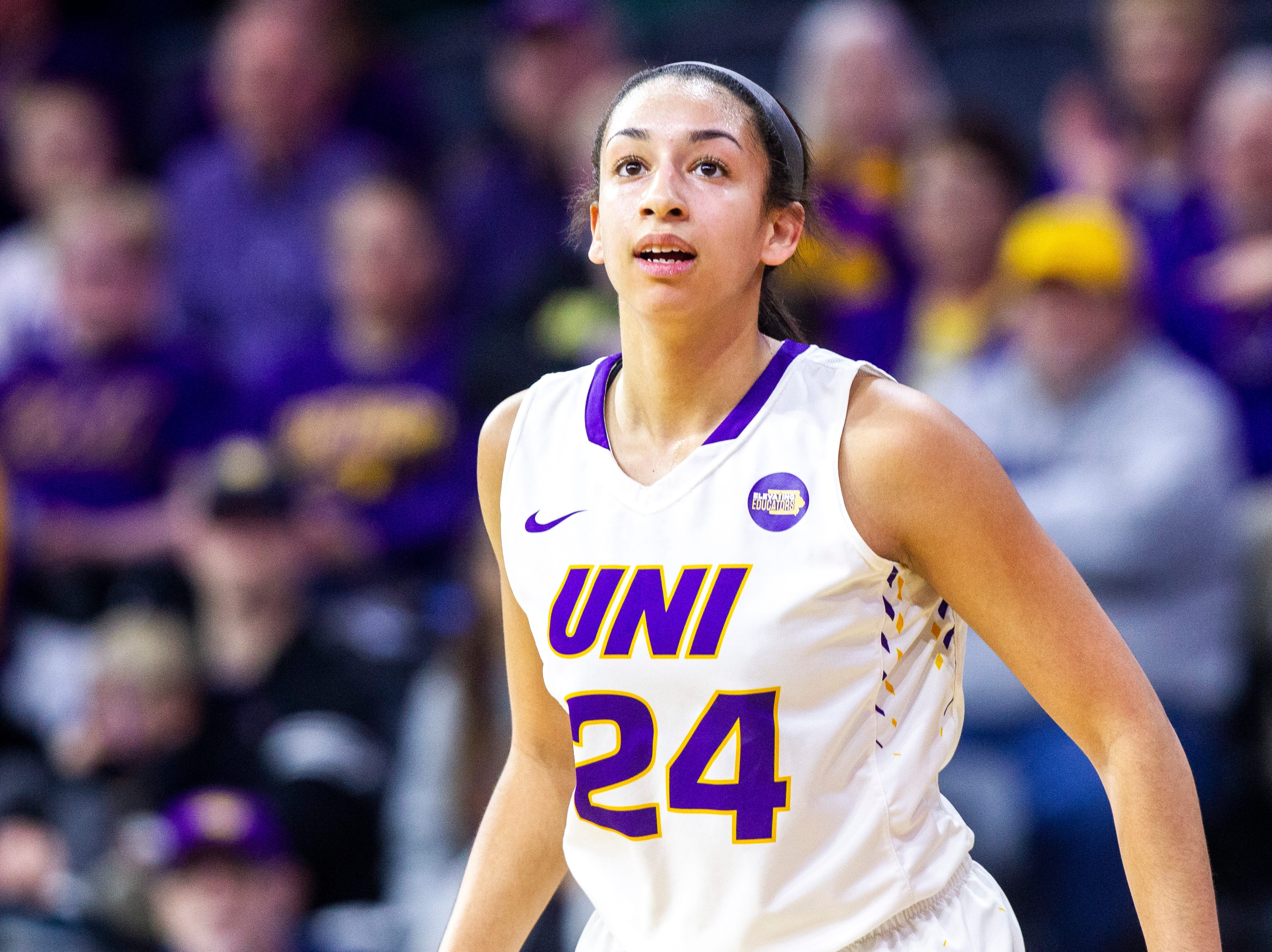 Northern Iowa guard Mikaela Morgan (24) runs up court during a NCAA Missouri Valley Conference women's basketball quarterfinal tournament game, Friday, March 15, 2019, at the TaxSlayer Center in Moline, Illinois.