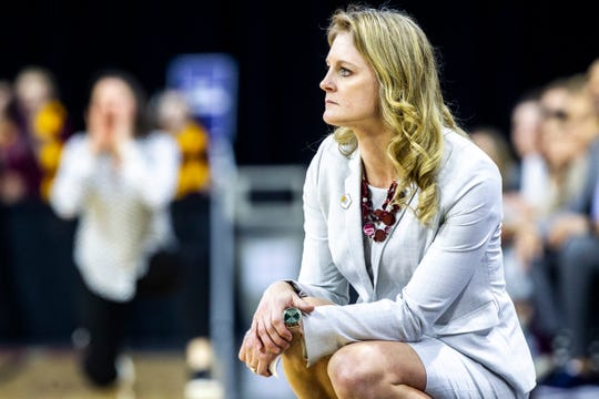 Missouri State head coach Kellie Harper looks on during a NCAA Missouri Valley Conference women's basketball quarterfinal tournament game, Friday, March 15, 2019, at the TaxSlayer Center in Moline, Illinois.