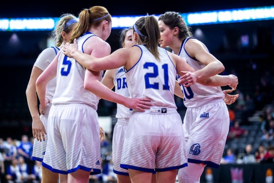 Drake Bulldogs huddle during a NCAA Missouri Valley Conference women's basketball semi final tournament game on Saturday, March 16, 2019, the TaxSlayer Center in Moline, Illinois.