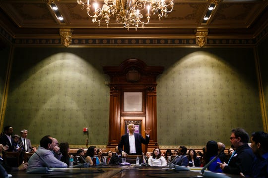 New Jersey Senator and 2020 Democratic presidential candidate Cory Booker speaks in the Supreme Court chamber at the Iowa State Capitol on Saturday, March 16, 2019 in Des Moines.