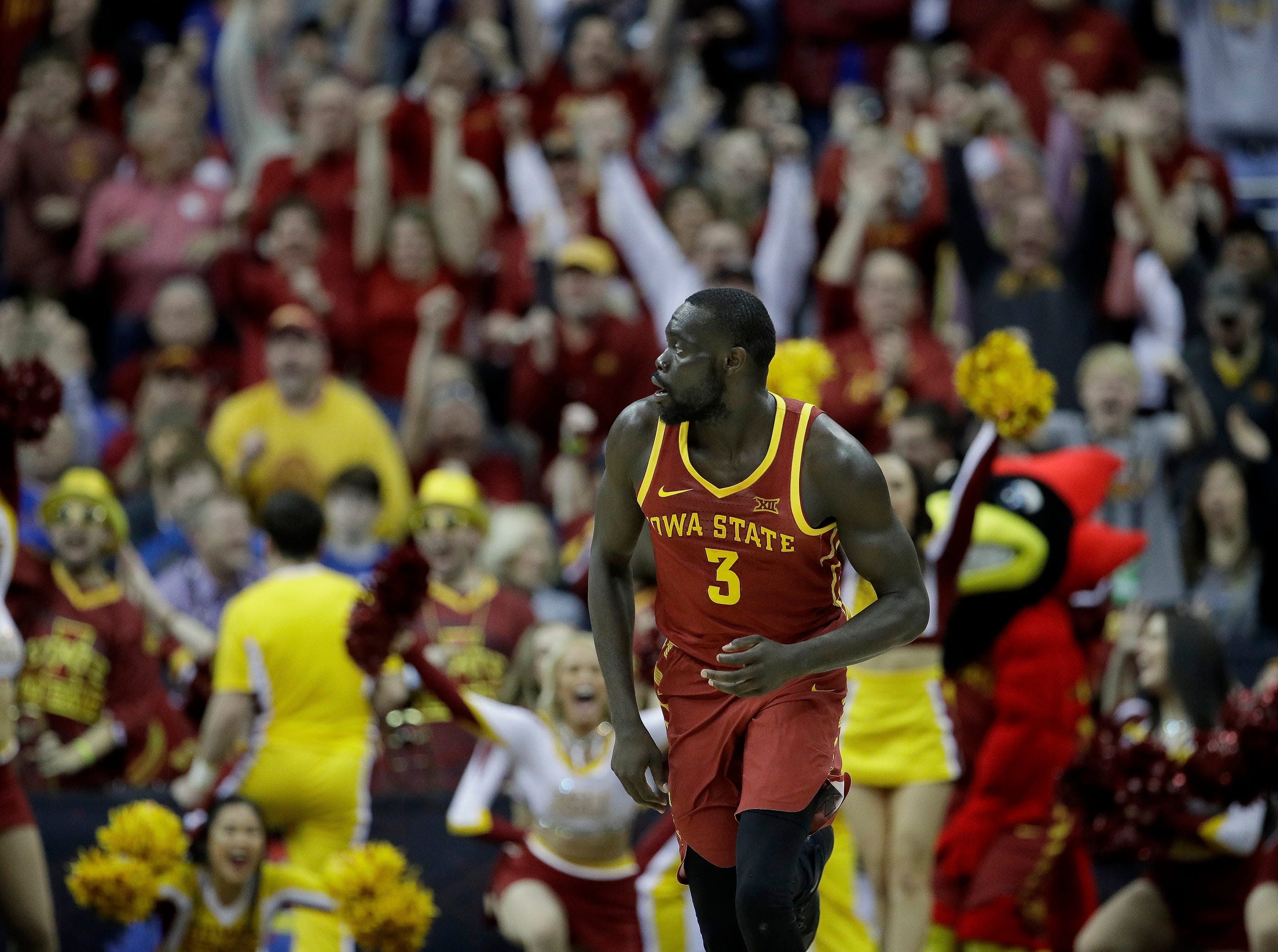 Iowa State's Marial Shayok watches his 3-point shot during the second half of an NCAA college basketball game against Kansas State in the Big 12 men's tournament Friday, March 15, 2019, in Kansas City, Mo. Iowa State won 63-59. (AP Photo/Charlie Riedel)