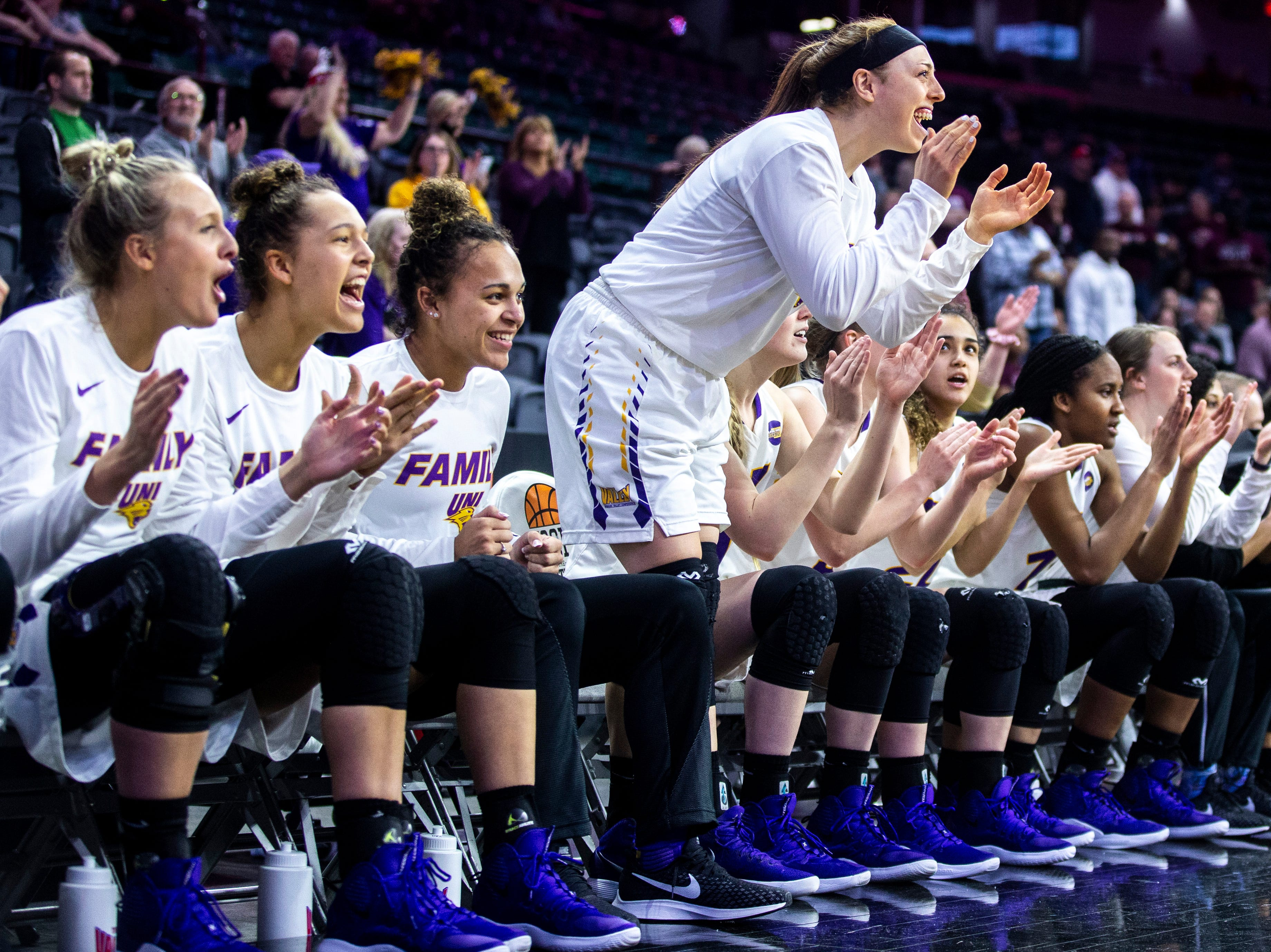 Northern Iowa Panthers cheer on the bench during a NCAA Missouri Valley Conference women's basketball quarterfinal tournament game, Friday, March 15, 2019, at the TaxSlayer Center in Moline, Illinois.