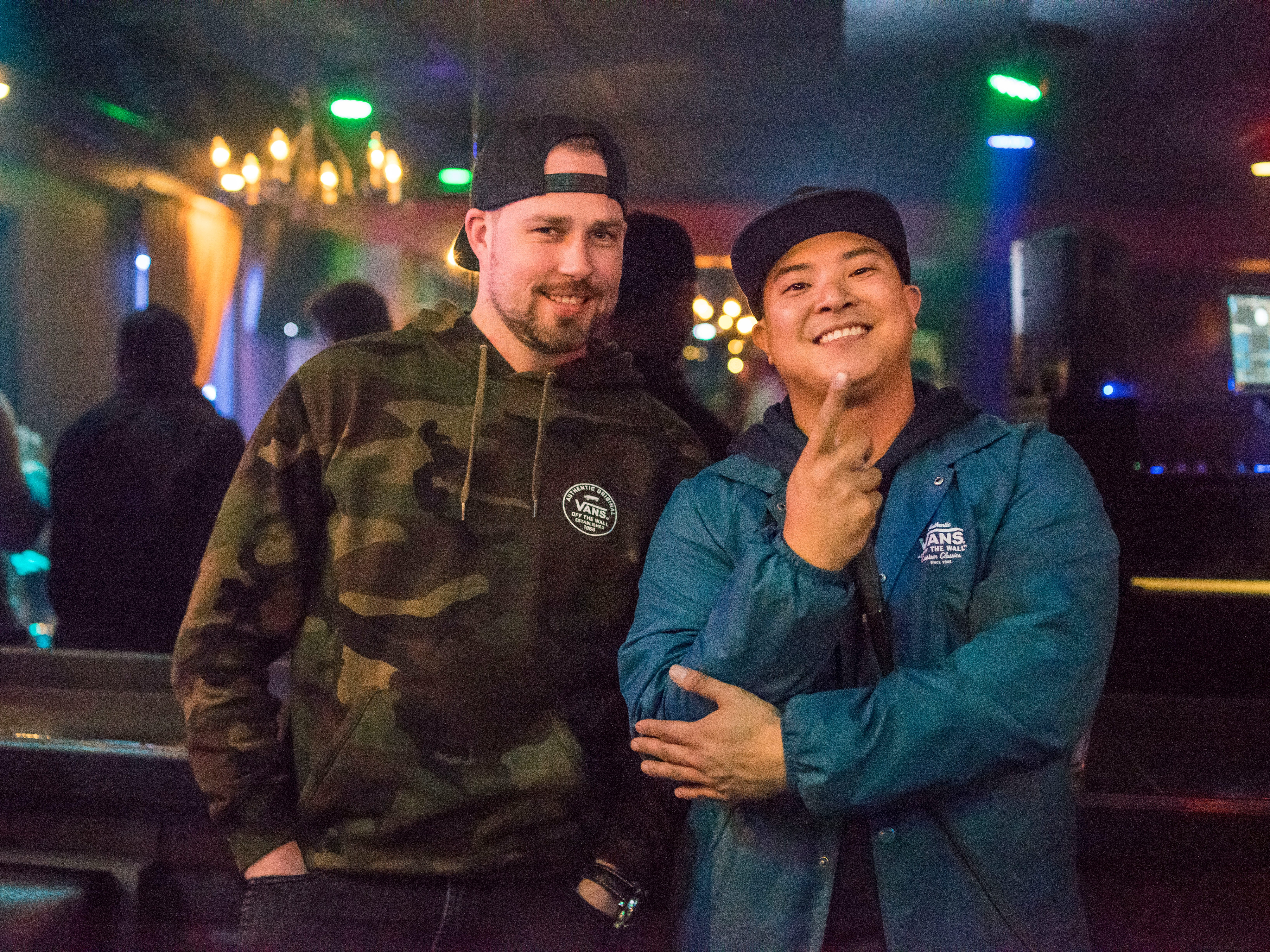 Chris Lo, 31, And Rob Fleming, 33, both of Des Moines, having a great time, Friday, March 15th, at Voodoo Lounge.