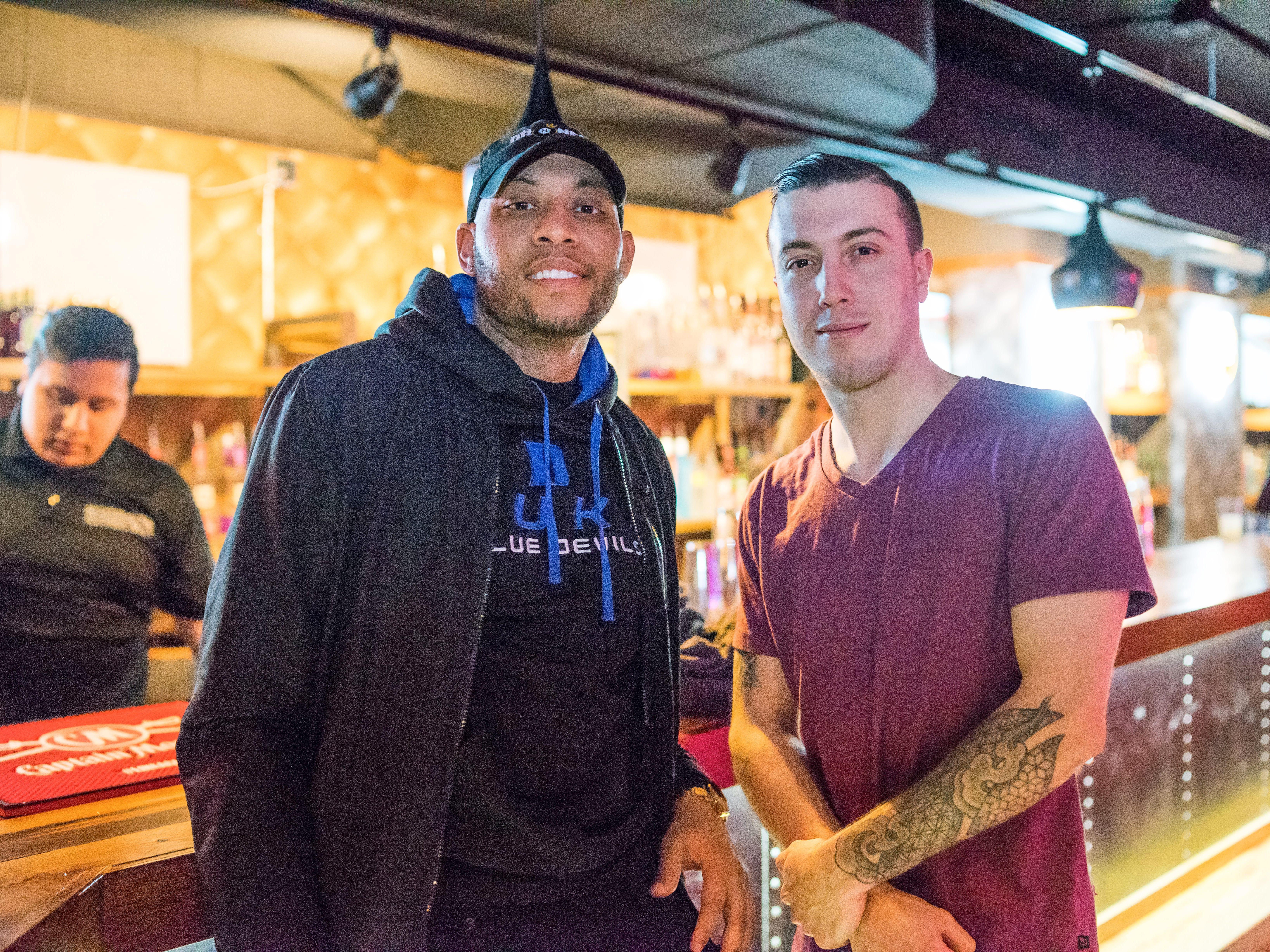 Duke Moffett, 30, and Deckar Lynch, 27, both of Des Moines, enjoying their night out, Friday, March 15th, at Shags.