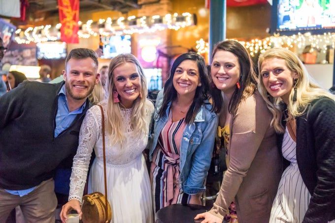 Britt Anderson, 27, Hilary Breon, 26, Jenni Shapp, 26, Kiegan Watts, 27, and Mallory Shipley, 28, all of Des Moines, having a fun time, Friday, March 15th, at Johnnys.
