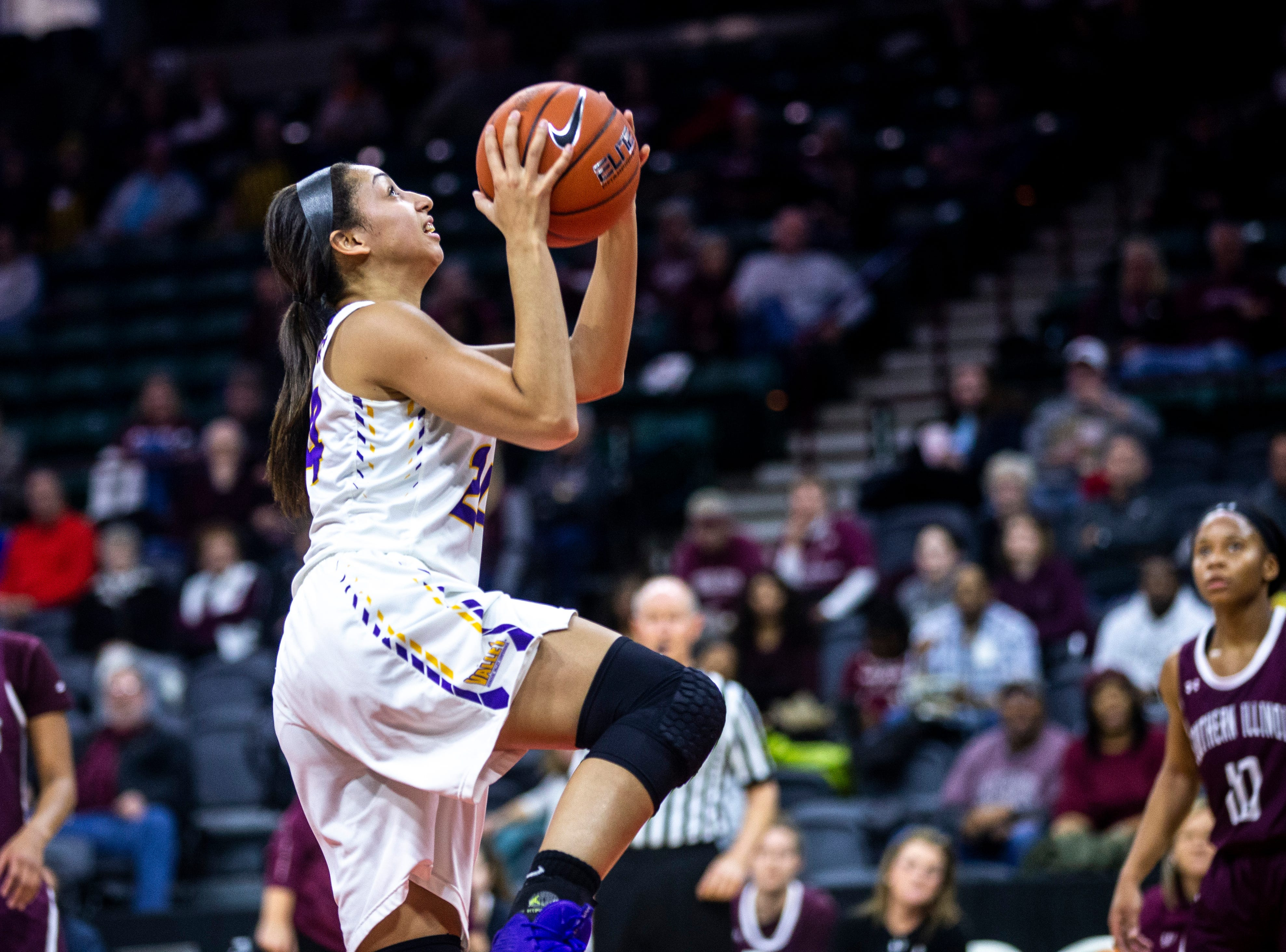 Northern Iowa guard Mikaela Morgan (24) drives to the basket during a NCAA Missouri Valley Conference women's basketball quarterfinal tournament game, Friday, March 15, 2019, at the TaxSlayer Center in Moline, Illinois.