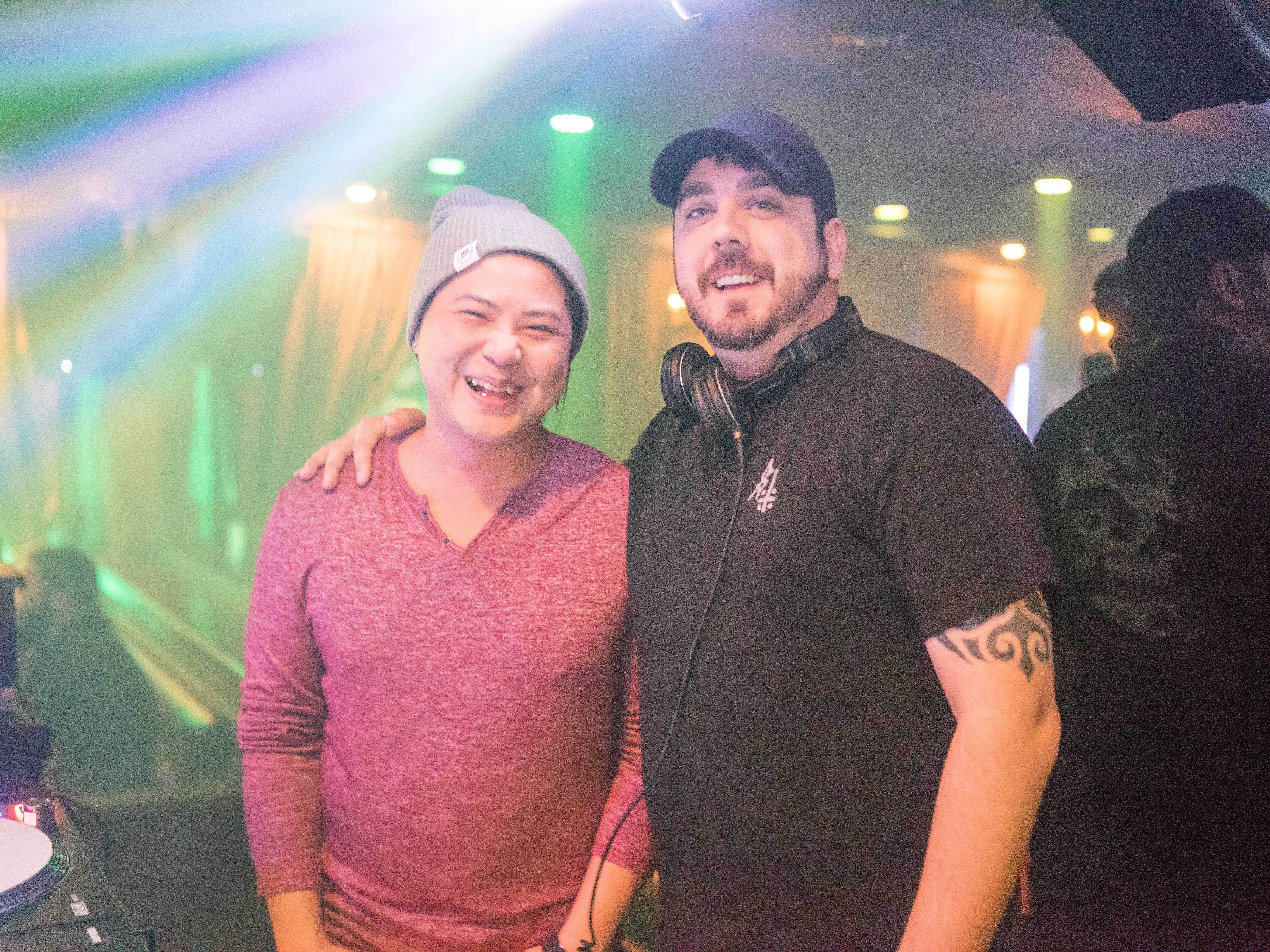 DJ Bui and DJ Chris Coffey, having a fun time, Friday, March 15th, at Voodoo Lounge.