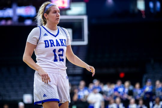 Drake's Brenni Rose (12) checks into the game during a NCAA Missouri Valley Conference women's basketball semi final tournament game on Saturday, March 16, 2019, the TaxSlayer Center in Moline, Illinois.