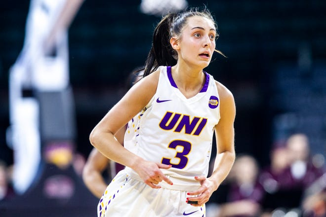 Northern Iowa guard Karli Rucker (3) runs up court during a NCAA Missouri Valley Conference women's basketball quarterfinal tournament game, Friday, March 15, 2019, at the TaxSlayer Center in Moline, Illinois.