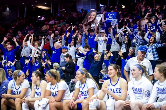 Drake fans do the wave during a NCAA Missouri Valley Conference women's basketball semi final tournament game on Saturday, March 16, 2019, the TaxSlayer Center in Moline, Illinois.