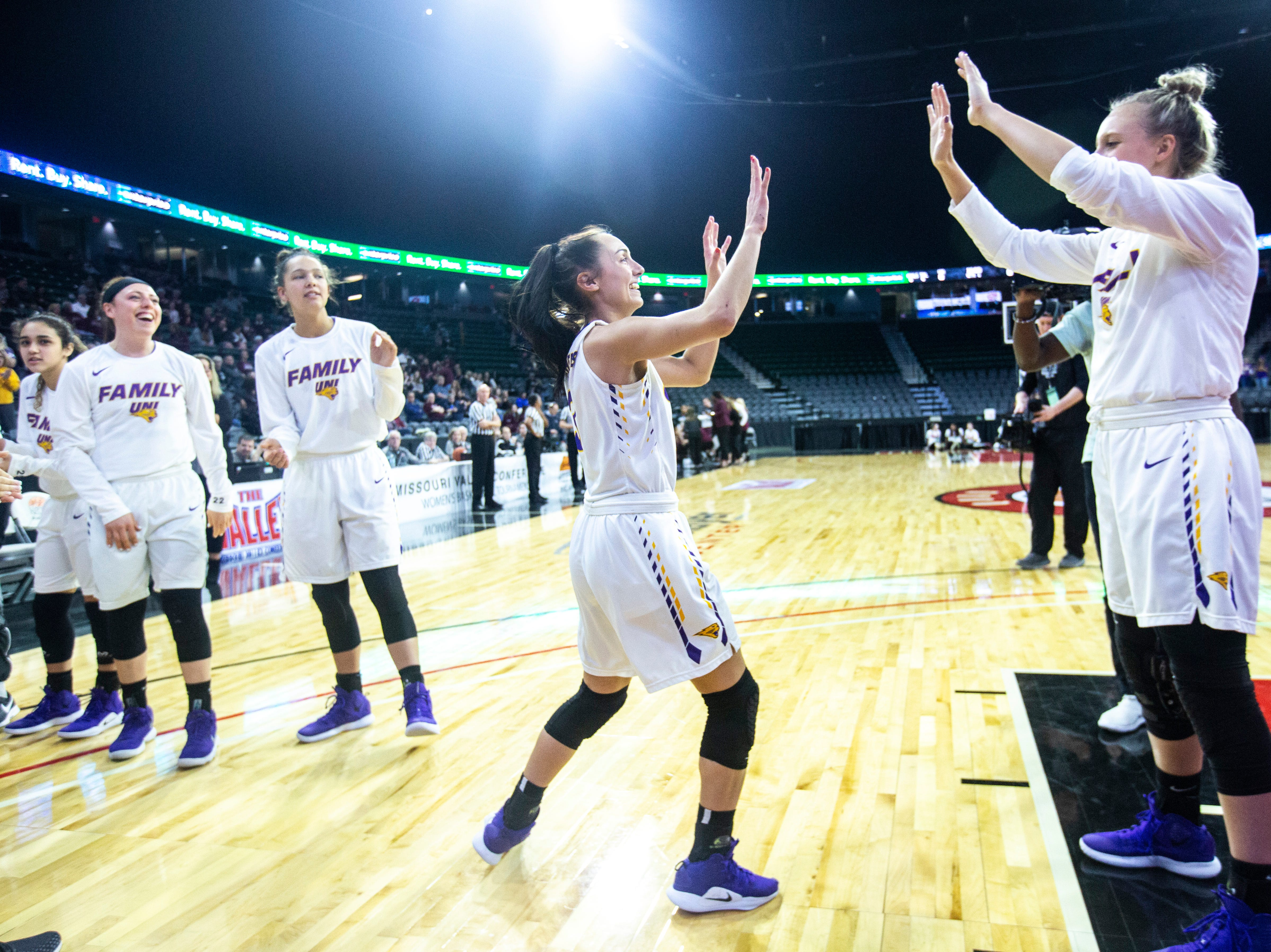 Northern Iowa guard Karli Rucker (3) is introduced during a NCAA Missouri Valley Conference women's basketball quarterfinal tournament game, Friday, March 15, 2019, at the TaxSlayer Center in Moline, Illinois.