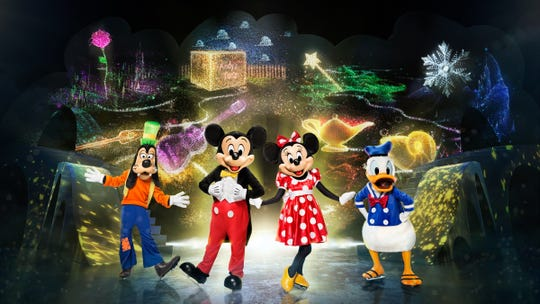 "Mickey and his pals set out to solve a mystery involving Tinker Bell and Captain Hook in ""Mickey's Search Party"" from Disney on Ice."