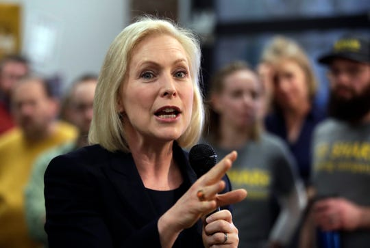 Democratic presidential candidate Sen. Kirsten Gillibrand, D-N.Y., speaks during a campaign meet-and-greet, Friday, March 15, 2019, at To Share Brewing in Manchester, N.H.