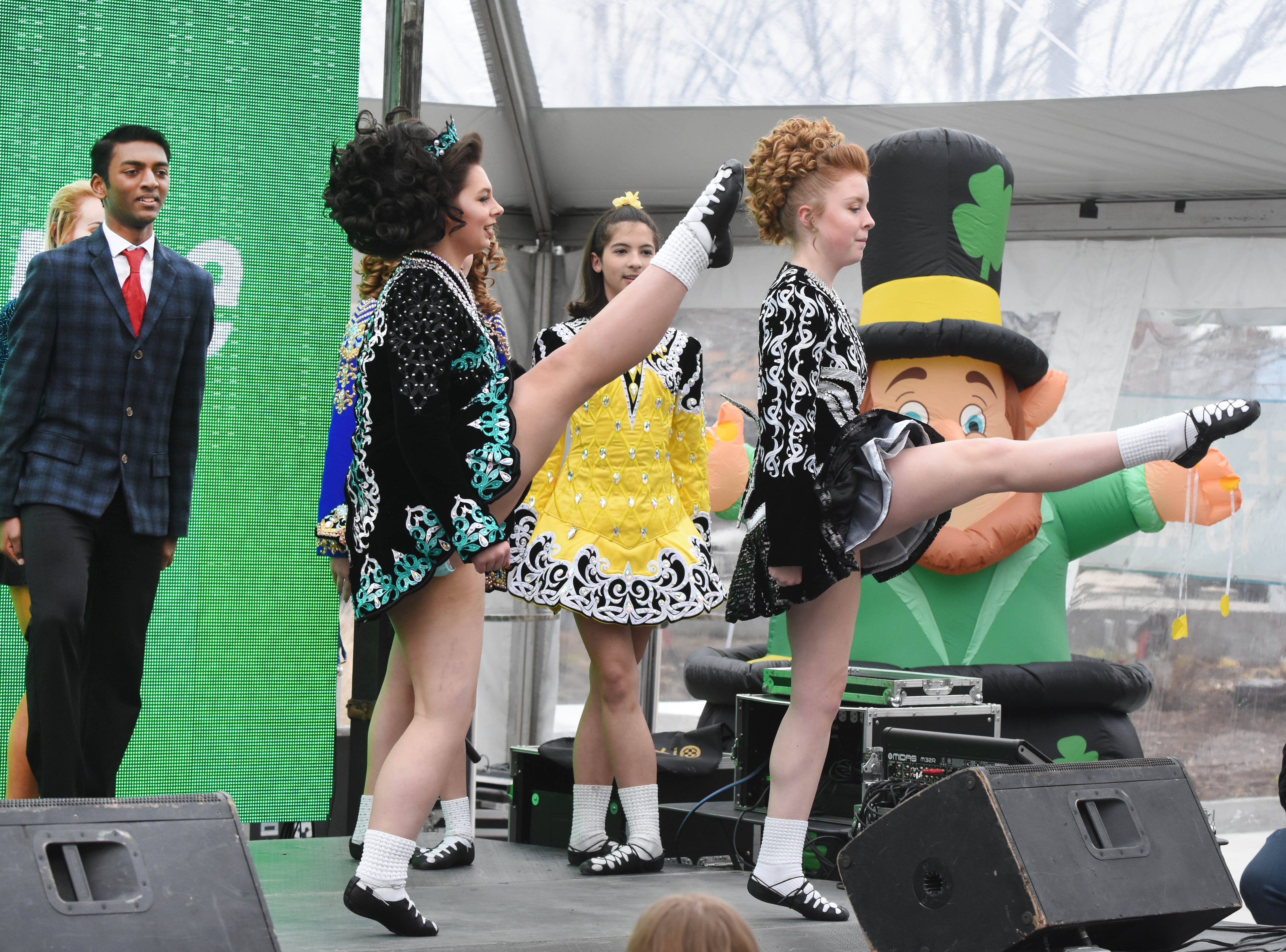 Members of the Tim O'Hare Irish Dance group perform during the St. Patrick's Day Party.