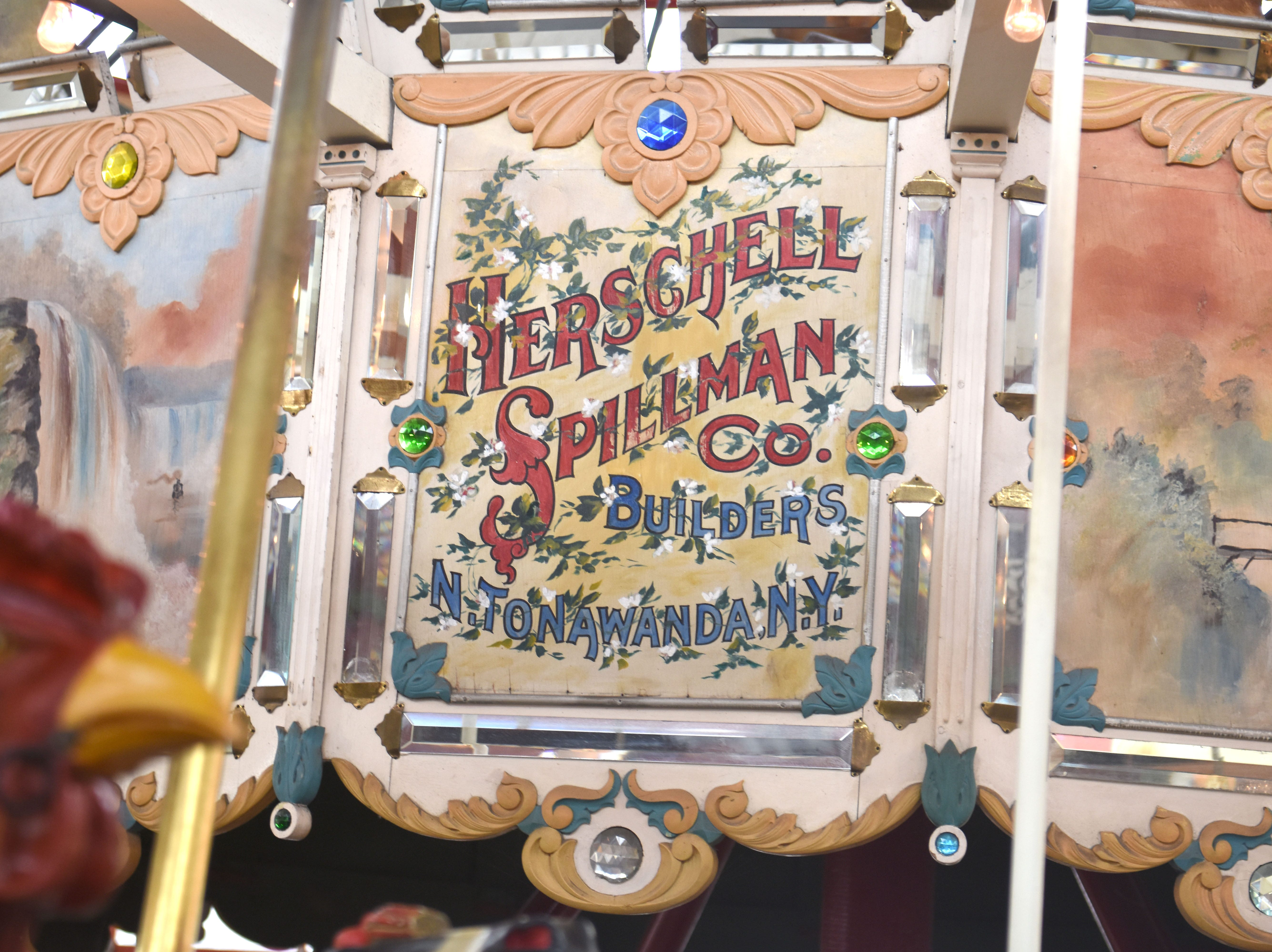 Colorful murals are part of the restoration of the famed carousel at Greenfield Village in Dearborn on Thursday, March 14, 2019.