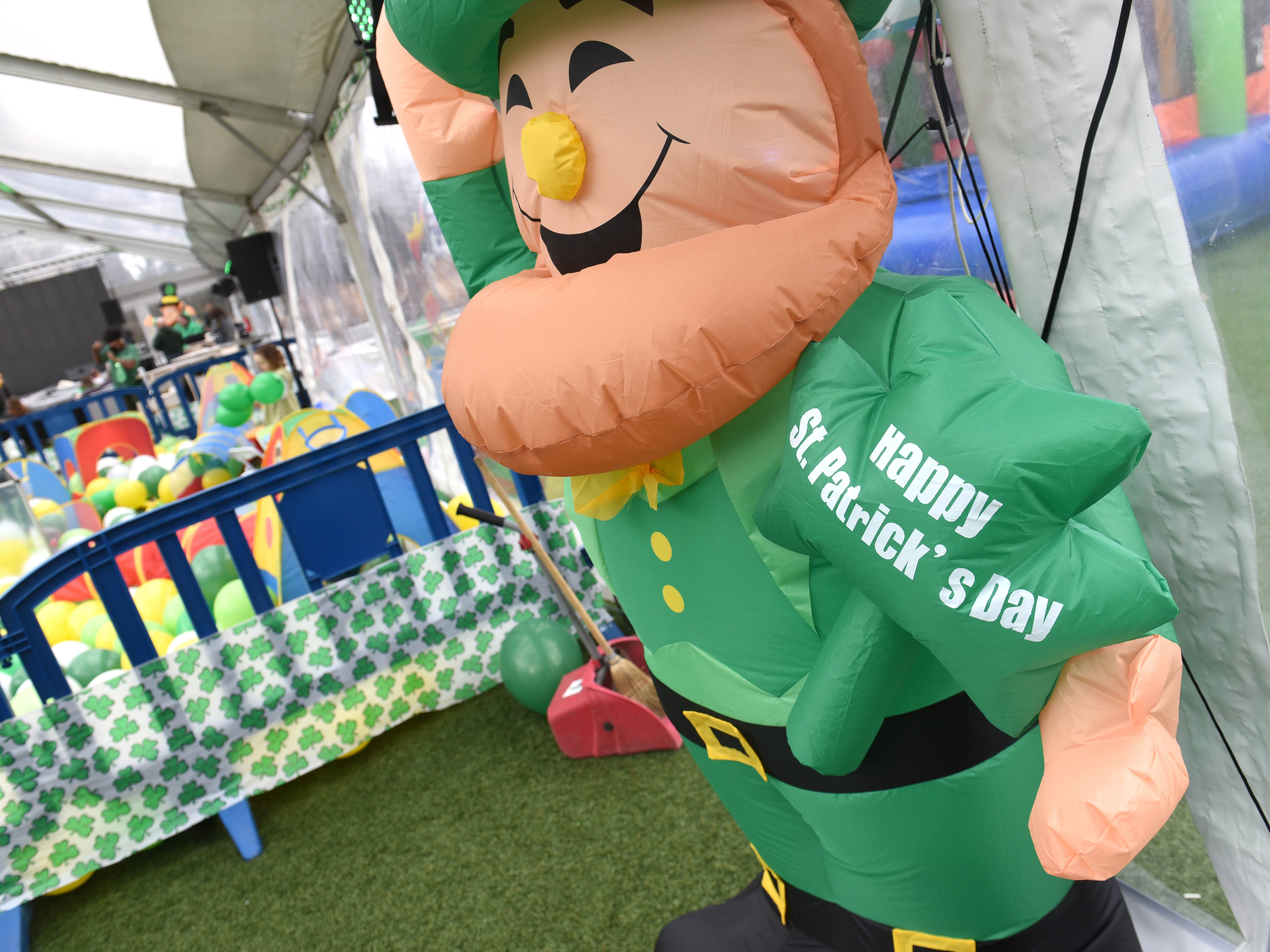 The St. Patrick's Day Party at Beacon Park took place inside a giant heated tent.