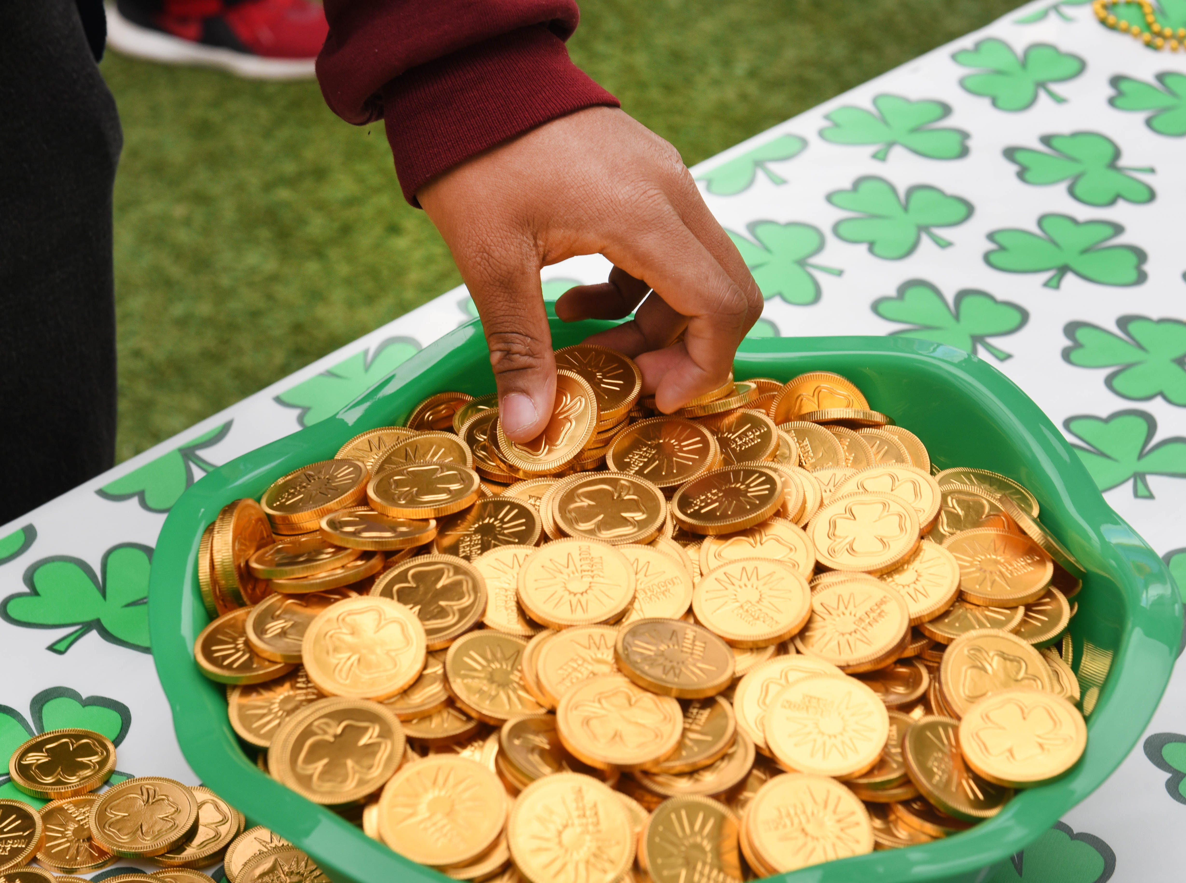 Chocolate gold coins are a favorite treat at the St. Patrick's Day Party at Beacon Park.
