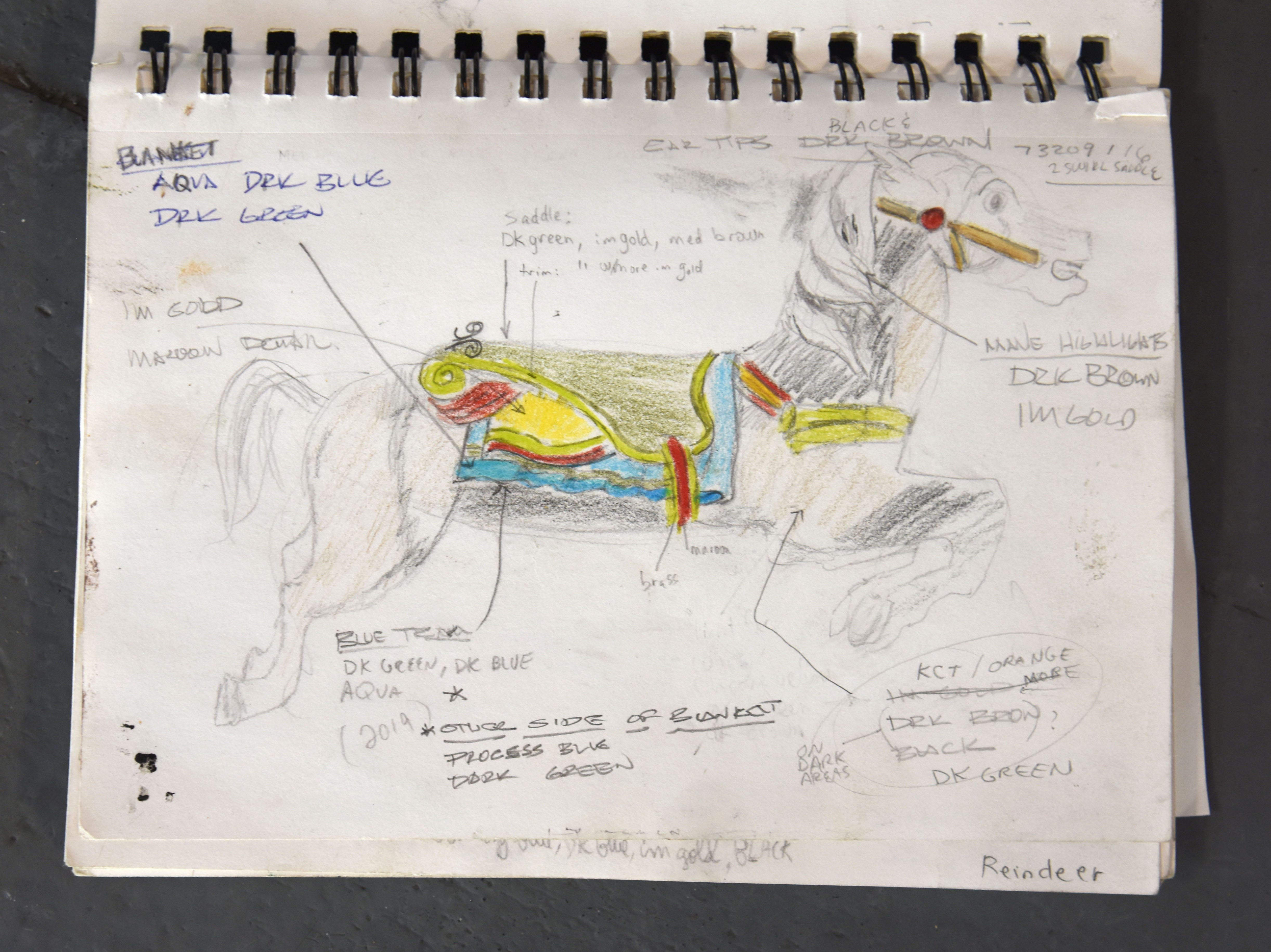 Another detailed drawing matches the  restoration process of the famed carousel figures at Greenfield Village